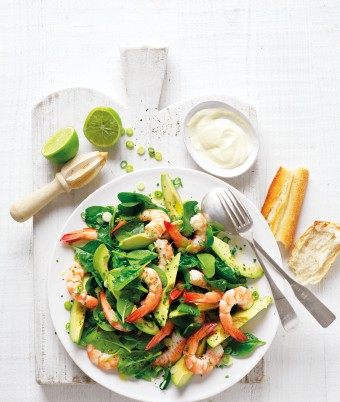 Avocado, Baby Spinach and Prawn Salad