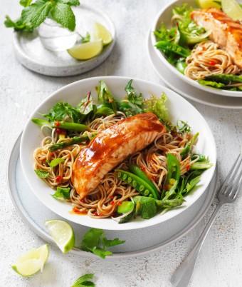 Teriyaki Salmon Soba Noodle Salad recipe