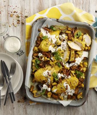 Turmeric and Yogurt Roasted Chicken, Cauliflower and Eggplant