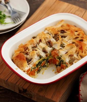 Kale, Feta and Pumpkin Pie