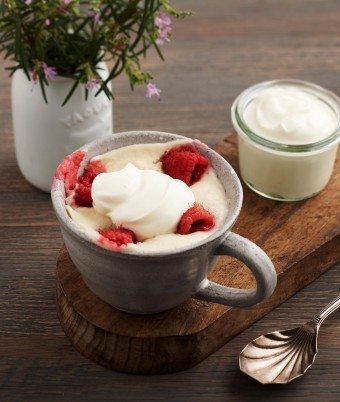 One Minute Lemon, Raspberry and Yoghurt Mug Puddings