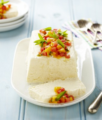 Ricotta and Honey Semifreddo with Mango and Watermelon Salad