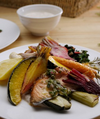 Roast Winter Vegetables with Wood Smoked Salmon, Salsa Verde and Tahini and Lemon Yoghurt