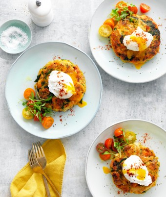 Bubble and squeak turkey fritters with poached eggs