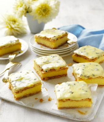 Vanilla slice recipe with passionfruit icing