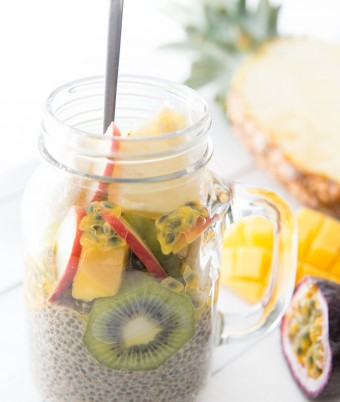 Vegan Tropical Fruit Chia Pudding