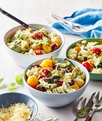 Try this vegetarian Creamy Pasta Salad with Pesto and Ricotta for an easy dinner recipe.