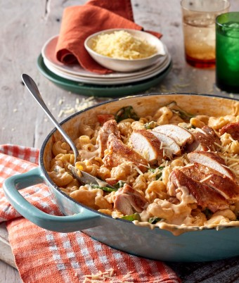 One-pan recipes don't get easier than this creamy chicken pasta recipe. Make this chicken dinner recipe for your family tonight.