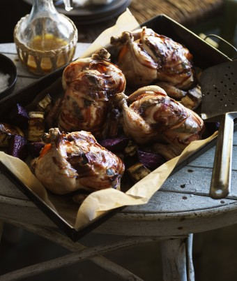 Whole Roast Stuffed Spatchcock with Mandarin, Wrapped in Pancetta with Sage, Eggplant and Beetroot