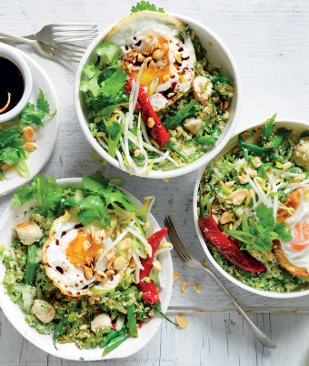 Broccolini and cauliflower fried 'rice' and chicken bowls