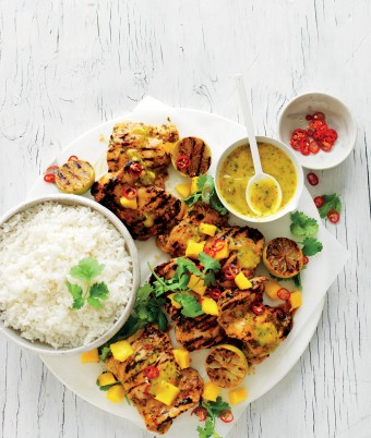This chargrilled chicken and rice recipe is the perfect chicken dinner. You can even make it a barbecue chicken recipe. The zingy chicken marinade is easy to make and uses mango, chilli and lime.