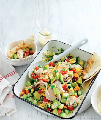 This summer salad of chargrilled sweetcorn and turkey has a creamy peri peri dressing. It's a great barbecue recipe.