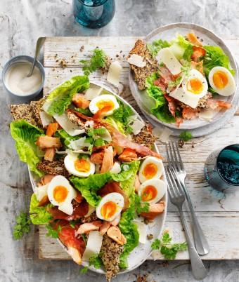 Caesar Salad with Hot Smoked Salmon
