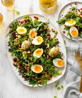 Wild rice, dukkha egg and pomegranate Christmas salad