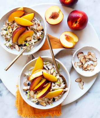 Dairy free overnight oats made with apples and nectarines.