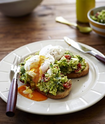 Poached Eggs with Avocado & Feta Smash on Sourdough Toast