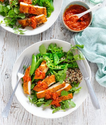 Tuscan chicken and quinoa salad with pesto
