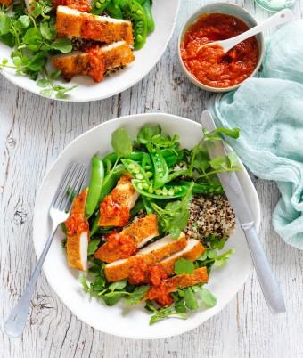 Tuscan chicken and quinoa salad with pesto