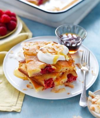 Tray bake pancake with mango, raspberries and coconut