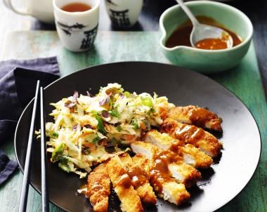 Katsu Pork with Pear and Carrot Slaw