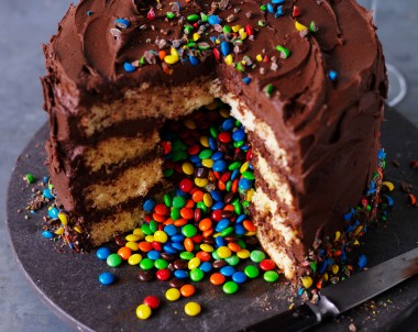 Chocolate rainbow surprise cake with smarties inside
