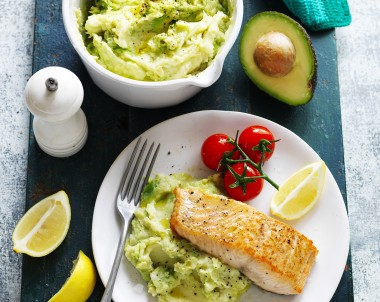 Avocado, Potato and Parsnip Mash with Salmon