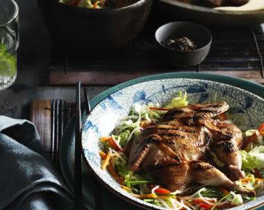 BBQ hoi Sin Butterfly Quail, Vietnamese Coleslaw and Soy Vinaigrette