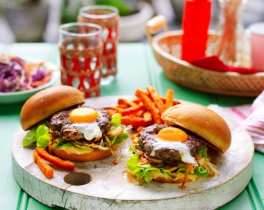 Burgers with Eggs and herb burger patties