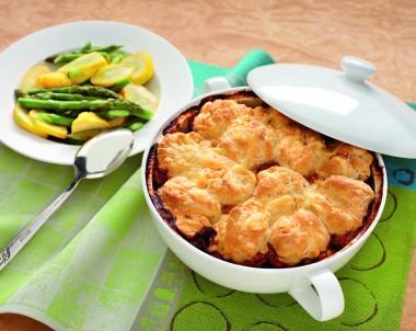 Beef and Mushroom Hot Pot with Cheesy Dumplings