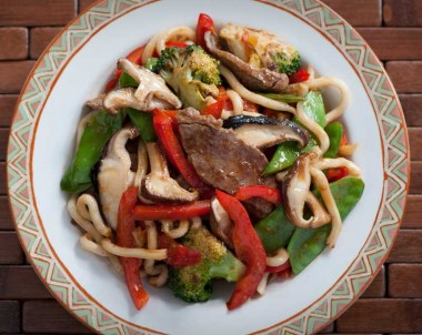 Sesame and Garlic Beef with Shitake Mushrooms and Noodles