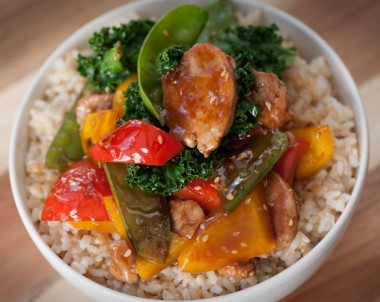Honey and Soy Pork with Sesame Seeds and Kale