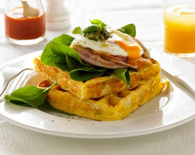 Corn and Crispy Bacon Waffle breakfast recipe using the Breville Waffle maker