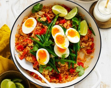 Indian Tomato and Ginger biriyani with Eggs and rice