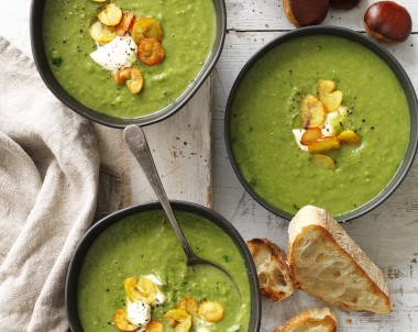 Chestnut, Spinach and Green Pea Soup