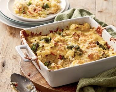 Cheesy Chicken Broccoli Cauliflower Rice Bake Recipe