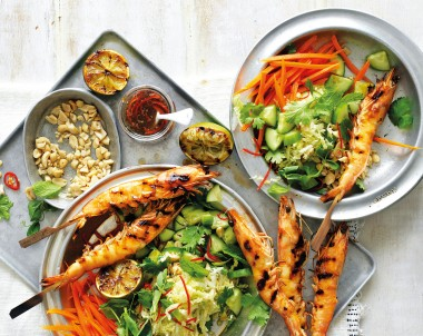 Barbecue prawns are the perfect summer barbecue recipe. These easy prawn skewers are served with a Lime Dressing. If you like seafood recipes, you'll love this.