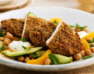 Falafel Chicken with Cucumber Chickpea and Orange Salad