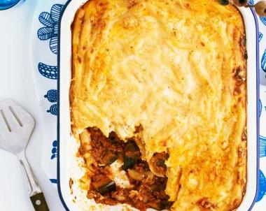 Greek Lamb and Eggplant Pasta Bake