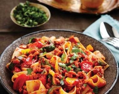 Chorizo and Veg Ragout with Parpardelle Pasta