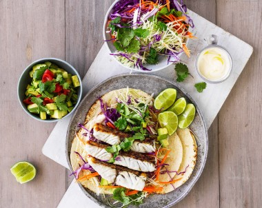 Barramundi fish tacos with slaw