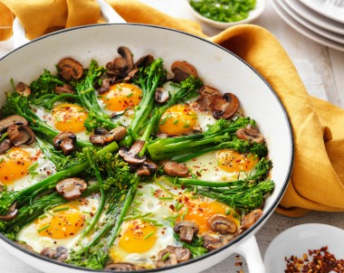 Eggs, mushrooms and broccolini vegetarian recipe