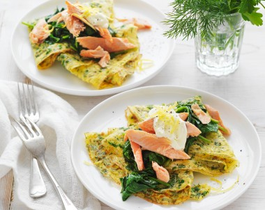 Herb Omelettes with Wilted Spinach and Smoked Fish