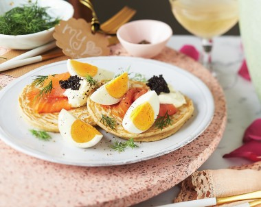 Blinis with Hard Boiled Eggs and Smoked Salmon