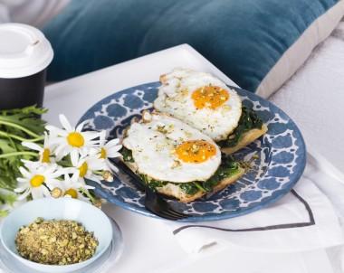 Fried Eggs with Pistachio Dukkah