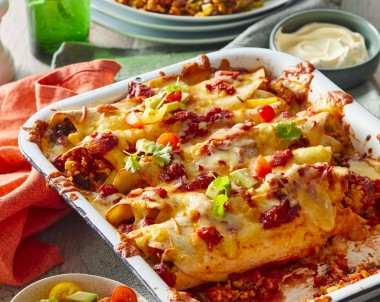 Chicken enchiladas with rice and cheese dinner recipe