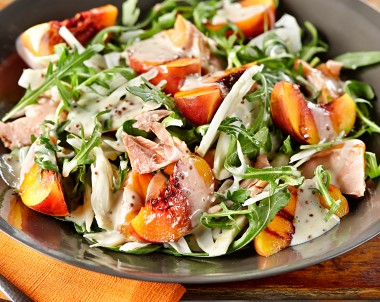 Grilled Peaches with Hot Smoked Salmon, Rocket and Fennel