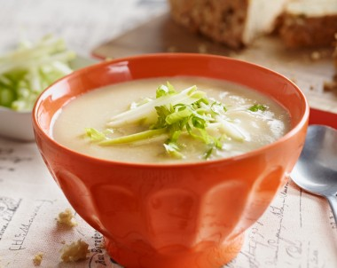 Celery Celeriac and Parsnip Soup with Cheesy Parsnip Cob