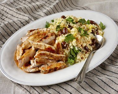 Moroccan Spiced Chicken with Lemon Olive Couscous
