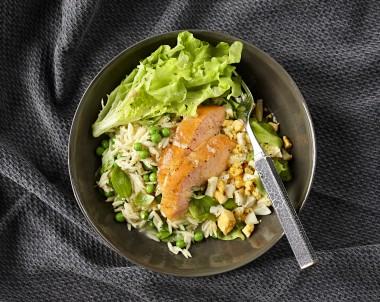 Salad of Hot Smoked Salmon, Risoni and Peas