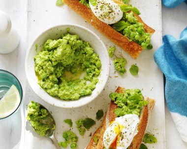 Mashed Pea Baguettes with Poached Eggs